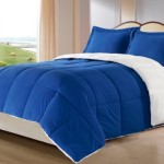 Cozy Beddings 3-Piece Down Alternative Mini Comforter Set with Pillow Case, Borrego Sherpa and Berber Throw Blanket, King, Royal Blue