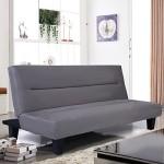 Giantex Microfiber Futon Folding Couch Sofa Bed 6″ Mattress Sleep Recliner Lounger (Gray)