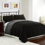 Cozy Beddings Reversible Down Alternative 3 Piece Comforter Set, Full/Queen, Grey/Black