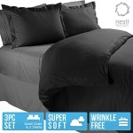 King Duvet Cover, Protects and Covers your Comforter / Duvet Insert, 100% Luxury Microfiber, Solid Black Color, 3 Piece Duvet Cover Set Includes 2 Pillow Shams – Nestl Bedding