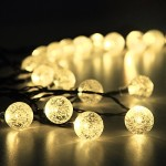 Solar Outdoor String Lights 19.7 ft 30 LED Warm White Crystal Ball Christmas Globe Lights for Garden Path, Party, Bedroom Decoration by Innoo Tech