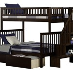Atlantic Furniture Woodland Staircase Bunk Bed with UBD, Antique Walnut, Twin/Full