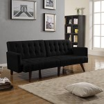 Modern Convertible Tufted Bonded Leather Splitback Sleeper Sofa Futon White, Black (Black)