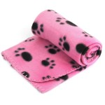 INKKER Pet Dog Cat Puppy Kitten Soft Blanket Doggy Warm Bed Mat Paw Print Cushion (Pink)