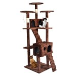 Brown 73″ Cat Tree Scratcher Play House Condo Furniture Bed Post Pet House