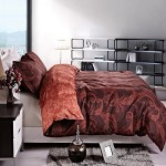 NTBAY 3 Pieces Reversible Printed Microfiber Duvet Cover Set with Hidden Button(Full/Queen, Burgundy)