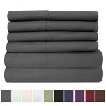 6 Piece 1500 Thread Count Egyptian Quality Deep Pocket Bed Sheet Set – 2 EXTRA PILLOW CASES, GREAT VALUE – Queen, Gray