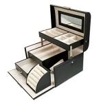 Sodynee® Black Pu Leather Jewelry Display Box Organizer Tray Lockable Makeup Storage Case with Mirror