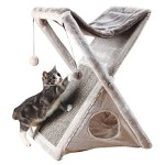 Trixie Pet Products Miguel Fold and Store Cat Tower, 20.25 x 13.75 x 25.5″, Gray/Light Gray