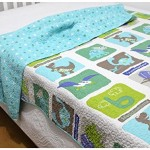Dinosaur Print Bedding Coverlet Quilt Bedspread Throw Blanket for Kid's Boy Bed Gift Washed Cotton