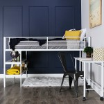 WE Furniture Twin Loft Bed with Desk and Shelves, White