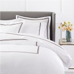 Pinzon 400-Thread-Count Hotel Stitch Duvet Cover – Full/Queen, Espresso Stripes