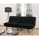 Futon Sofa Memory Foam Convertible Sleeper Wooden Frame Black Suede Cover