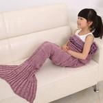 Hughapy® Mermaid Blanket Kids Knitted Sleeping Bag Sofa Falbala Mermaid Tail Bed Throw Blanket in 4 colors,55″x28″,Pink