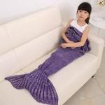 Hughapy® Mermaid Blanket Kids Knitted Sleeping Bag Sofa Falbala Mermaid Tail Bed Throw Blanket in 4 colors,55″x28″,Purple