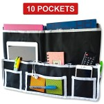 Fancii 10 Pocket Bedside Caddy – Hanging Storage Organizer for Books, Phones, Tablets, Accessory and TV Remote – Best for Headboards, Bed Rails, Dorm Rooms, Bunk Beds, Apartments, Bathrooms & Travel