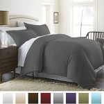Beckham Hotel Collection® Luxury Soft Brushed 1800 Series Microfiber 3 Piece Duvet Cover Set – Full/Queen, Gray