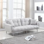 Divano Roma Furniture Collection – Modern Plush Tufted Linen Fabric Splitback Living Room Sleeper Futon (Light Grey)