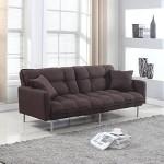 Divano Roma Furniture Collection – Modern Plush Tufted Linen Fabric Splitback Living Room Sleeper Futon (Brown)