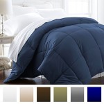 Beckham Hotel Collection® Lightweight Luxury Goose Down Alternative Comforter – Hypoallergenic – Full/Queen – Navy/Solid