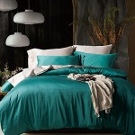 UFO Home 3pc Duvet Cover Set, 600 Thread Count Percale, 100% Egyptian Cotton, Zipper Closure, No Inside Filler or Comforter, Smooth Solid Dark Turquoise Color(Queen, Dark Turquoise-AH)