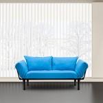 Merax® Colorful Line Fabric Futon/sofa Sleeper Couch Loveseat Living Room Sofa, Metal Legs & Adjustable Armrests (Blue)