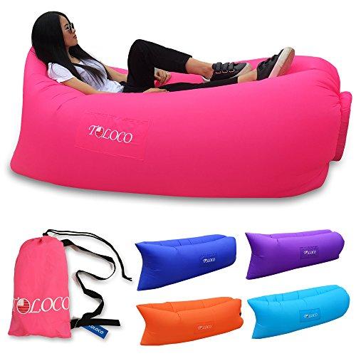 TOLOCO Outdoor Inflatable Lounger Nylon Fabric Beach Lounger Convenient Compression Air Bag Hangout Bean Bag Portable Dream Chair (Rose red)