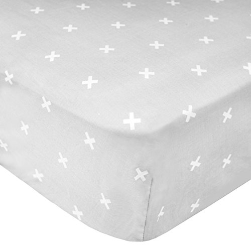 """Premium Fitted Cotton Crib Sheet """"Slate"""" by Copper Pearl"""