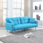Divano Roma Furniture Collection – Modern Plush Tufted Linen Fabric Splitback Living Room Sleeper Futon (Light Blue)