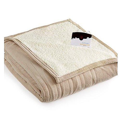 Biddeford 2060-9052140-700 MicroPlush Sherpa Electric Heated Blanket Twin Taupe