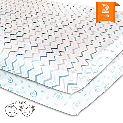 Pack N Play Playard Sheet Set – 2 Pack Jersey Cotton Fitted Sheets for Mini/Portable Crib Mattress by Mom's Besty™ – Unisex Gray Chevron