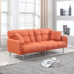 Divano Roma Furniture Collection – Modern Plush Tufted Linen Fabric Splitback Living Room Sleeper Futon (Orange)