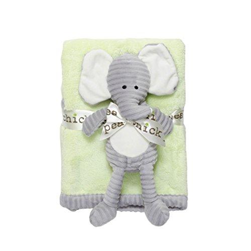 Chick Pea Baby Velboa Plush 2 Piece Blanket and Animal Toy Set, Green Blanket & Grey Elephant