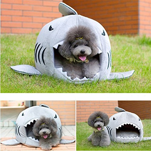 Macnoon6 Cute Grey Shark Round House Pet Puppy Dog Bed for Small Cat Dog Cave Removable Cushion