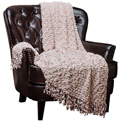 Chanasya Decorative Woven Popcorn Texture Knit Throw Blanket With Ball Fringe- Beige Creme Ivory