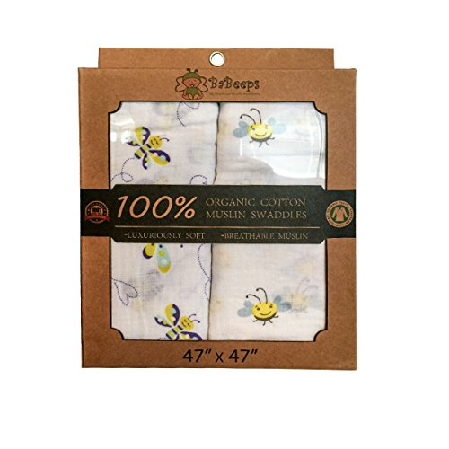 2 Pack GOTS Certified Organic 100% Cotton Muslin Swaddle Receiving Blanket for Infants & Babies, 5 in 1-Swaddle Blanket, Nursing Cover, Burp Cloth, Shade Cover, Play Blanket -Great Baby Shower Gift