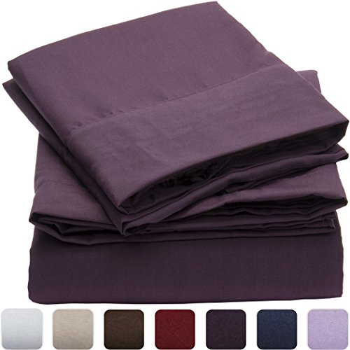 Mellanni Duvet Cover Sets – HIGHEST QUALITY 100% Brushed Microfiber 1800 Luxury Bedding Collections – With Pillow Shams – 2pc Set (Twin, Purple)