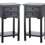Set of 2 Black Table with 2 Drawers