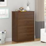 Classic Mainstays 40 Lbs 4 Drawer Chest Wood Grain Top Class Bedroom Furniture Oak Finish, Northfield Alder, Brown