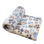 Sunlilee Paw Print Thick Warm Fleece Soft Pet Blanket Dog Puppy Sleep Beds Mat Pet Cat Cushion (Brown,Medium)