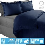 Nestl Bedding Duvet Cover, Protects and Covers your Comforter / Duvet Insert, Luxury 100% Super Soft Microfiber, Full (Double) Size, Color Navy Blue, 3 Piece Duvet Cover Set Includes 2 Pillow Shams