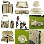 3 -1 Baby Travel Bed diaper bag Bassinet Changing Station Portable Crib Foldable and Waterproof (Color Cream)