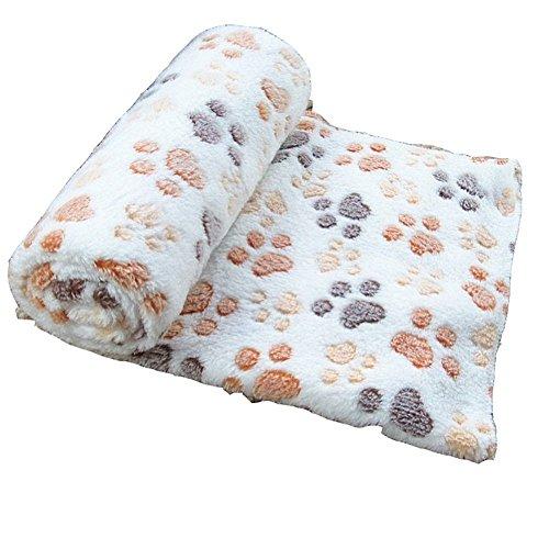 Sunlilee Paw Print Thick Warm Fleece Soft Pet Blanket Dog Puppy Sleep Beds Mat Pet Cat Cushion (Beige,Small)