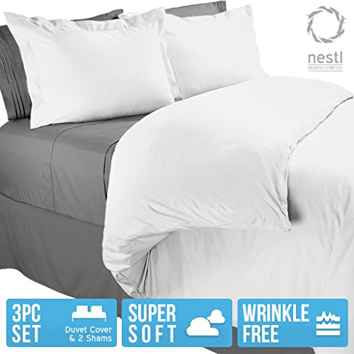 Nestl Bedding Duvet Cover, Protects and Covers your Comforter / Duvet Insert, Luxury 100% Super Soft Microfiber, Full (Double) Size, Color White, 3 Piece Duvet Cover Set Includes 2 Pillow Shams