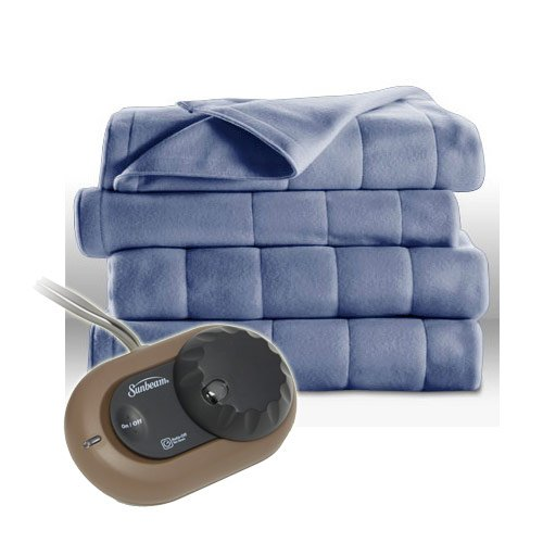 Sunbeam Heated Electric Blanket Quilted Fleece Full Size Dusty Blue