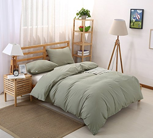 Colourful Snail 100-Percent Natural Washed Cotton Duvet Cover Set, Ultra Soft and Easy Care, Fade Resistant, Queen/Full, Green