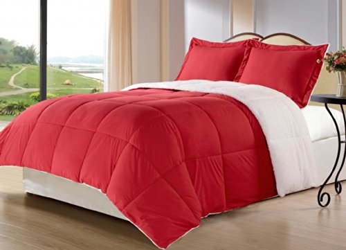 Borrego FULL/QUEEN Size 3 Piece RED Color Down Alternative Comforter Set/Blanket with Pillow Shams, Sherpa and Berber Fabric Bed Cover