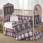 Pink Buckmark Plaid – 6 Piece Crib Set includes (Crib Fitted Sheet, Crib Bumper Pad, Crib Headboard Pad, Crib Comforter, Crib Bedskirt and Crib Diaper Stacker)