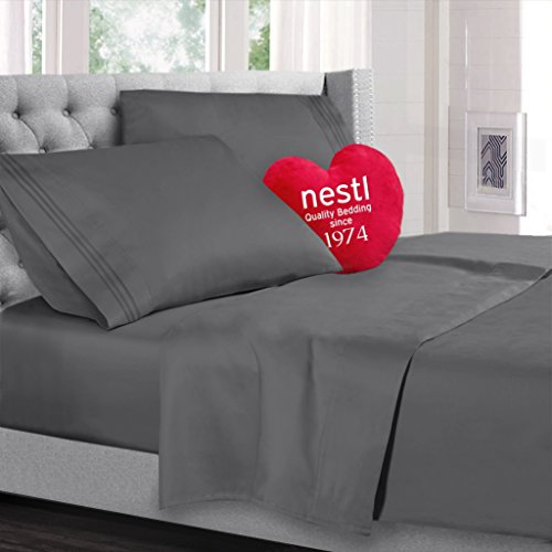 Twin Size Bed Sheets Set, Grey Charcoal (Gray), Highest Quality Bedding Sheet Set on Amazon, 3-Piece Bed Set, Deep Pockets Fitted Sheet, 100% Luxury Soft Microfiber, Hypoallergenic, Cool & Breathable