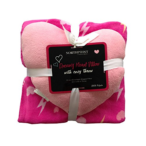 2pc Hot Pink Hearts and Lightning Pattern Throw Blanket with Shaped Pillow Set